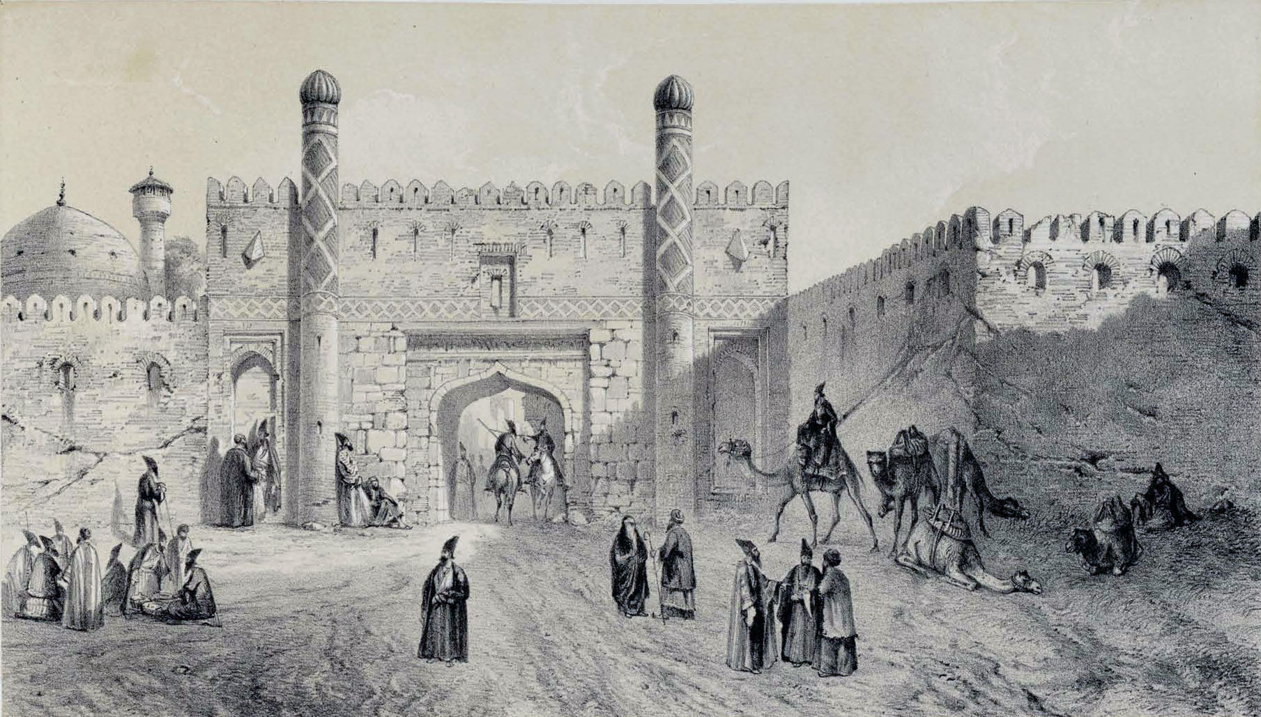 City_Gate_,_Tabriz_by_Eugène_Flandin